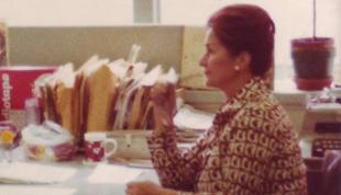 Zofia Korbońska 1915-2010 at the Polish Service of the Voice of America in 1974 - Zofia Korbońska przy swoim biurku w redakcji Sekcji Polskiej Głosu Ameryki w roku 1974.
